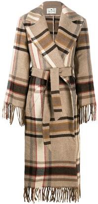 Etro Tartan-Pattern Fringed Coat