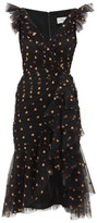 Temperley London Fortuna Glitter-spade Asymmetric Tulle Dress - Womens - Black Multi