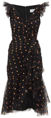 Temperley London Fortuna Glitter-spade Asymmetric Tulle Dress - Black Multi