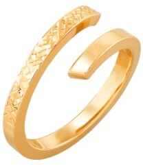 Italian Gold Polished Diamond Cut Bypass Ring in 10K Yellow Gold