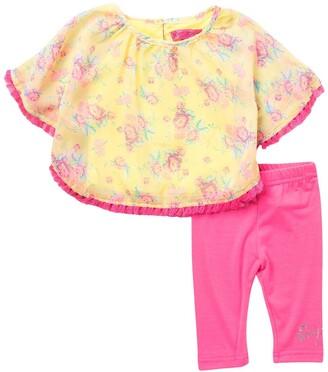 Betsey Johnson Floral Trim Top & Pants Set