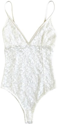 Cg Loves Lace and Leatherette Bodysuit - White