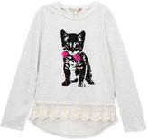Speechless Oatmeal Puppy Lace-Trim Sweatshirt - Girls