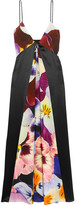 Christopher Kane Floral-print Silk Crepe De Chine Midi Dress - Purple