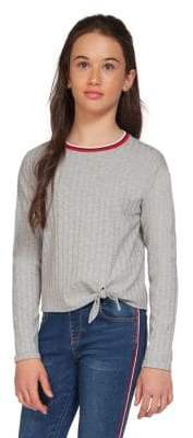 Dex Girl's Knotted Ringer Rib-Knit Top