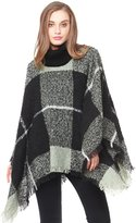 ZLYC Womens Plaid Sweater Shawl Turtle Collar Knitted Fringe Poncho Blanket Wrap
