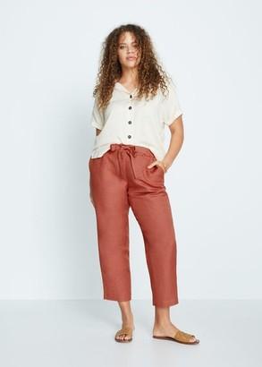 MANGO Violeta BY Straight linen-blend pants beige - S - Plus sizes