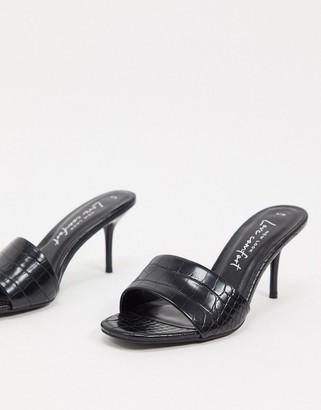 New Look pu croc mule stiletto in black