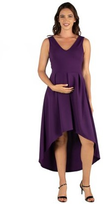 24/7 Comfort Apparel High Low Maternity Party Dress with Pockets