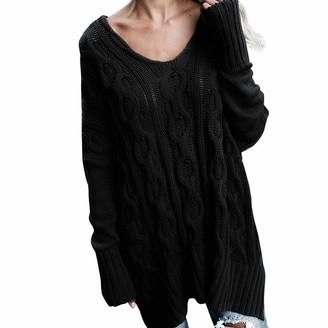 Lazzboy Womens Sweater Knitted Tops Tunic Long Sleeve O Neck Plain Boho Pattern Chunky Jumper Oversized Plus Size UK Size 16-20(XL(22)