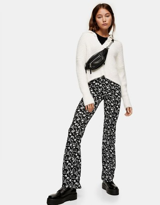 Topshop floral print flared trousers in monochrome
