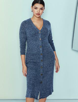 ELOQUII Long Sleeve Button Front Dress