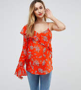 Asos One Shoulder Ruffle Blouse In Bright Floral