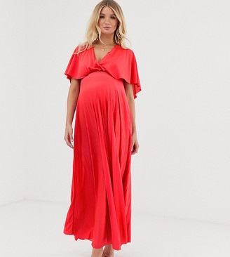 ASOS DESIGN Maternity cape back detail pleated maxi dress