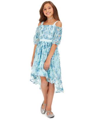 Sequin Hearts Big Girls Cold-Shoulder Metallic-Butterfly Dress