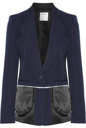 DKNY Satin-Trimmed Wool-Twill Blazer