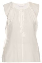 Chloé Ruffled cap-sleeved silk-crepe top