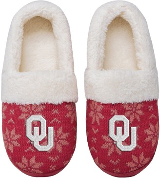 Women's Oklahoma Sooners Ugly Knit Moccasin Slippers