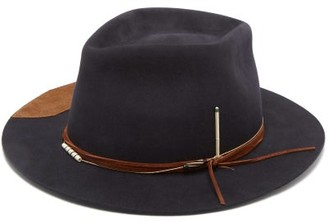 Nick Fouquet Fletcher Felt & Leather Fedora Hat - Navy