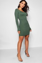 boohoo Long Sleeve Scoop Neck Bodycon Dress