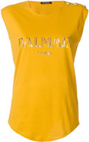 Balmain logo printed tank top - women - Cotton - 36