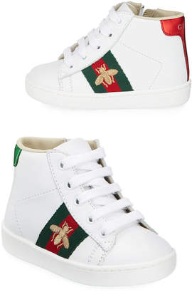 Gucci New Ace Embroidered Leather High Top Tennis Shoes, Toddler