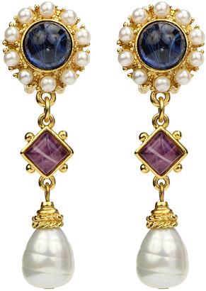 Ben Amun Mixed Glass-Drop Clip Earrings