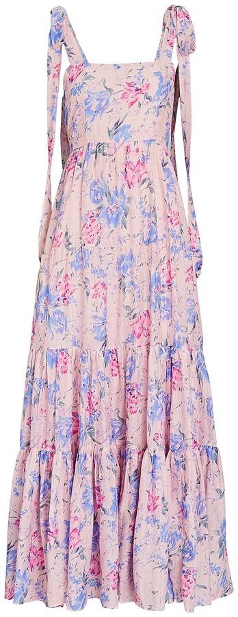 LoveShackFancy Burrows Floral Silk-Cotton Maxi Dress