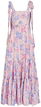 LoveShackFancy Burrows Floral Silk-Cotton Maxi Dress