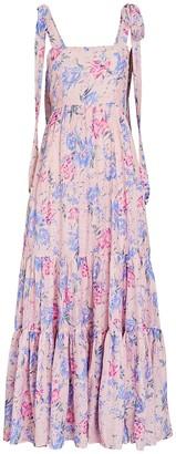 LoveShackFancy Burrows Floral Silk-Cotton Midi Dress