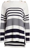 St. John Striped Dropped Shoulder Sweater
