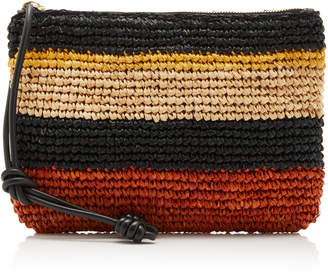 Ulla Johnson Shima Striped Raffia Zip Pouch