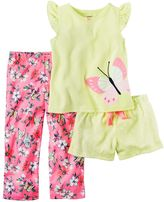 Carter's Toddler Girl Butterfly Tee, Solid Shorts & Printed Pants Pajama Set