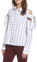 BP Women's Stripe Bow Cold Shoulder Top