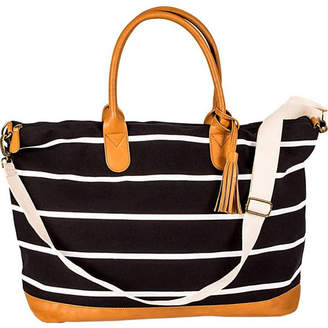 Cathy's Concepts Cathy Concepts Personalized Black Striped Oversized Weekender Tote