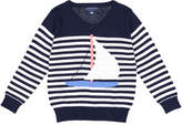 Andy & Evan Stripe Sailboat Knit Sweater, Size 2-7