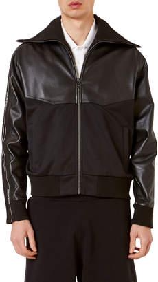 Givenchy Men's Leather & Fabric Paneled Track Jacket