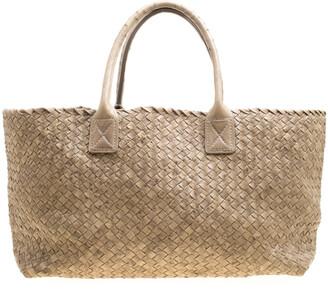 Bottega Veneta Stone Ostrich Intrecciato Leather Medium Limited Edition Cabat Tote