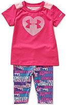 Under Armour Baby Girls 12-24 Months Heart Logo Short-Sleeve Tee & Logo-Printed Pants Set