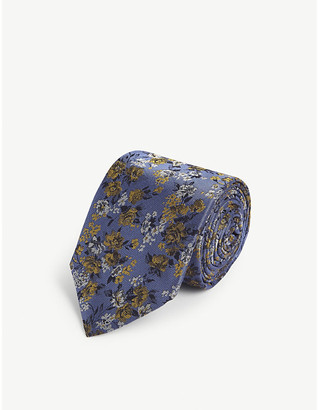 Duchamp London Floral print silk tie