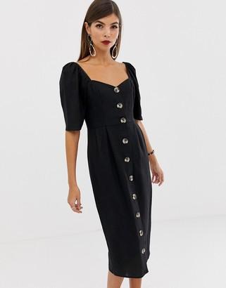 Asos Design DESIGN linen button through midi dress with sweetheart neckline-Black