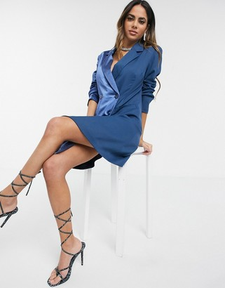 UNIQUE21 Unique 21 contrast satin blazer dress in navy