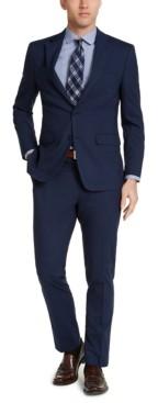 Van Heusen Men's Slim-Fit Stretch Navy Blue Plaid Suit