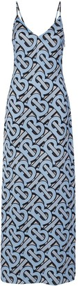 Burberry Monogram-print silk-satin slip dress