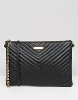Aldo Chevron Quilted Zip Top Pouch With Removable Cross Body Strap