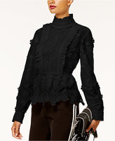 INC International Concepts Anna Sui x Lace Peplum Top, Created for Macy's