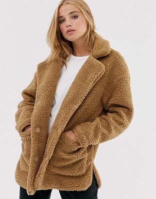 Brave Soul kelsea coat in borg