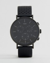 Timex Fairfield Chronograph 41mm Perforated Leather Watch In Black Ip