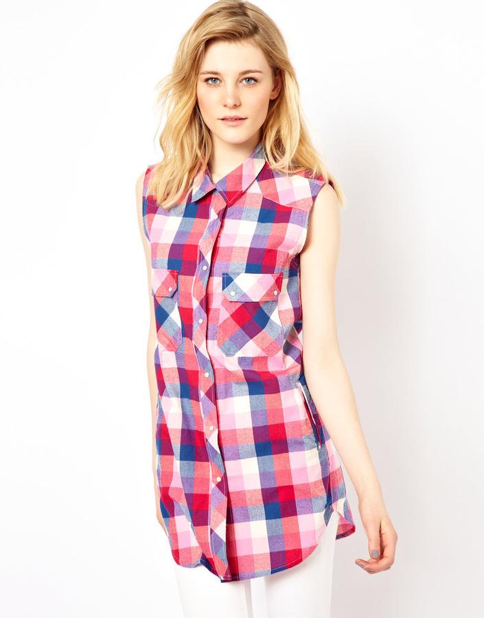 IRO Longline Sleeveless Plaid Shirt in Textured Cotton