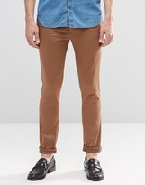 Asos Super Skinny Trousers In Cotton Sateen In Mid Brown